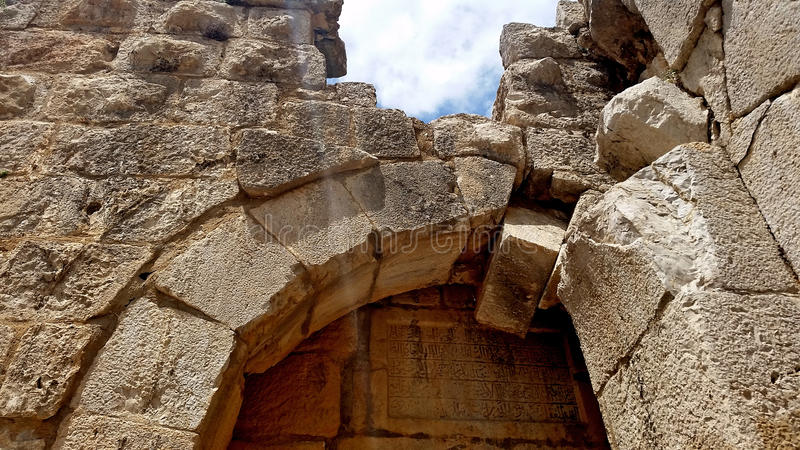 Les ruines de la forteresse du ` s de Nimrod en Israël photo stock