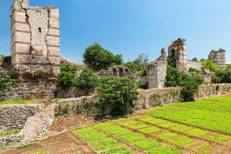 Les ruines des murs antiques célèbres de Constantinople à Istanbul image stock