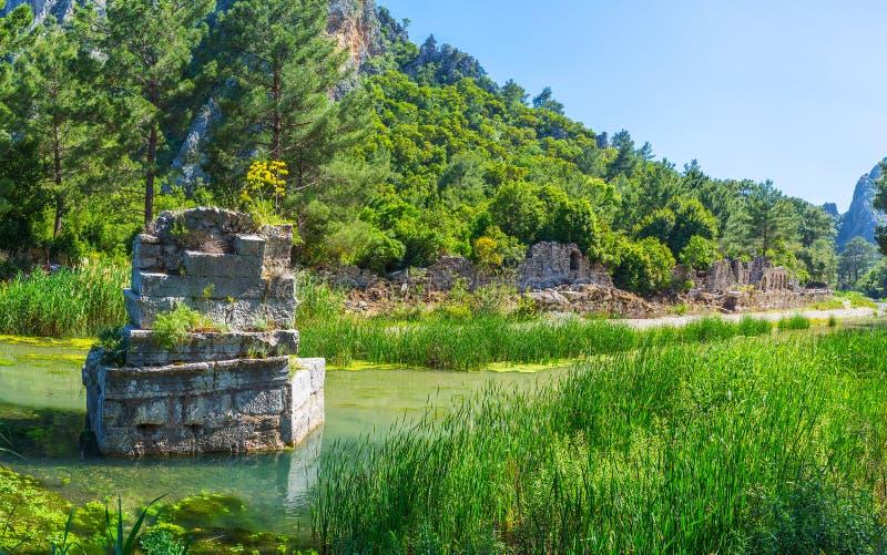 Les ruines du pont, Olympos, Turquie image libre de droits