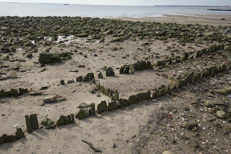 Les ruines du vieux pilier à l'argent ponce la plage dans Milford, le Connecticut images libres de droits