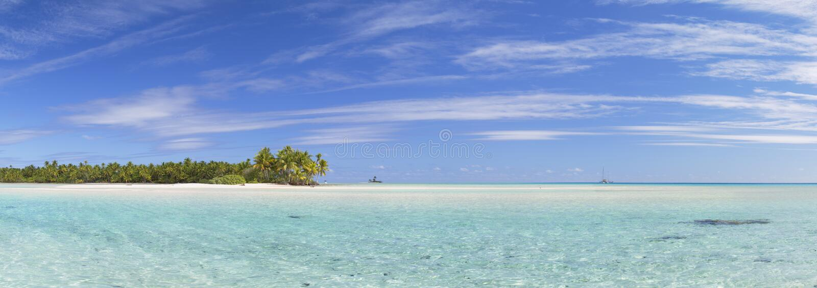 Les Sables Roses (Pink Sands), Tetamanu, Fakarava, Tuamotu Islands, French Polynesia. Panoramic of Les Sables Roses (Pink Sands), Tetamanu, Fakarava, Tuamotu stock photography