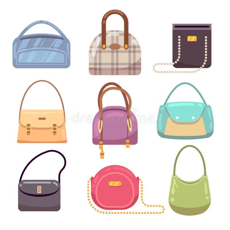 Les sacs à main colorés de dames, accessoires de femme dirigent la collection illustration stock