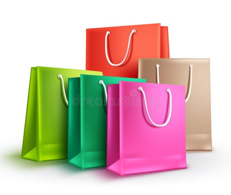 Les sacs à provisions ont assorti l'illustration de vecteur de couleurs Concept vide coloré de sacs en papier illustration de vecteur