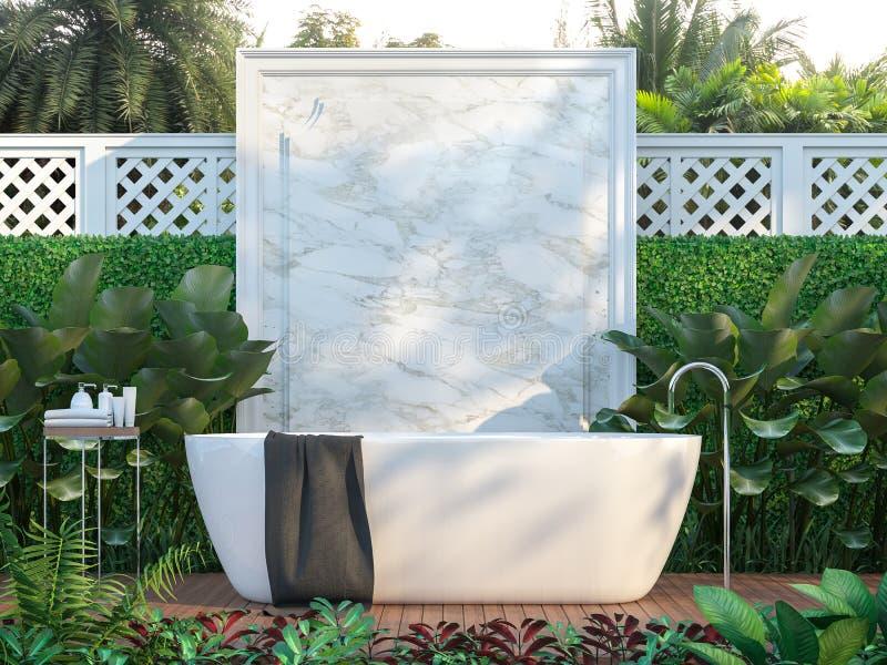Les salles de bains extérieures de luxe ont entouré par nature 3d pour rendre illustration de vecteur