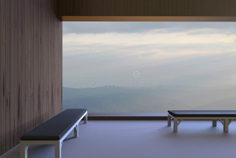 Les salles et les chaises modernes simples et la vue en dehors de la fenêtre pendant le matin et voient les montagnes et le ciel  illustration libre de droits