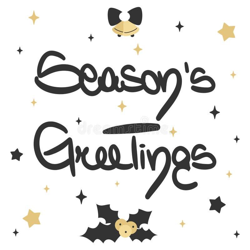 Les salutations de la saison de inscription tirée par la main mignonne dirigent la carte de Noël illustration de vecteur