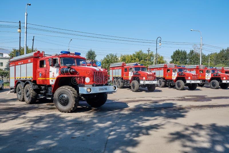 Les sapeurs-pompiers d'URAL 5557 photo libre de droits
