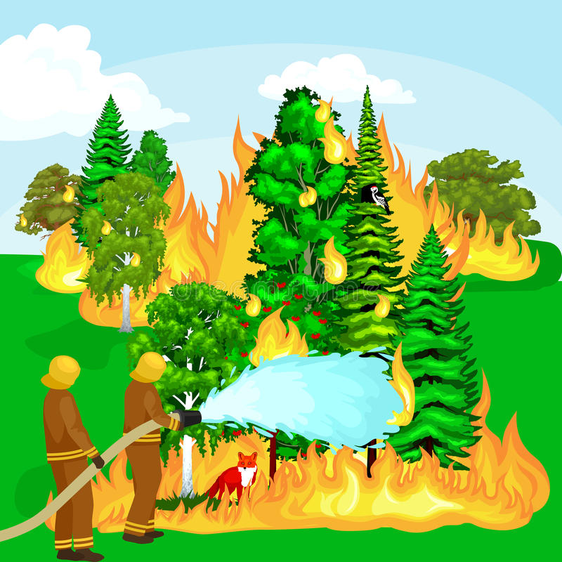 Les sapeurs-pompiers dans les vêtements de protection et le casque avec l'hélicoptère s'éteignent avec de l'eau illustration de vecteur