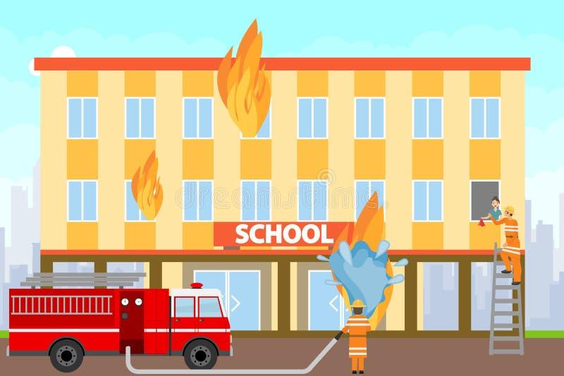 Les sapeurs-pompiers s'éteignent un bâtiment brûlant Sapeurs-pompiers sur un camion de pompiers s'éteindre le bâtiment scolaire a illustration de vecteur