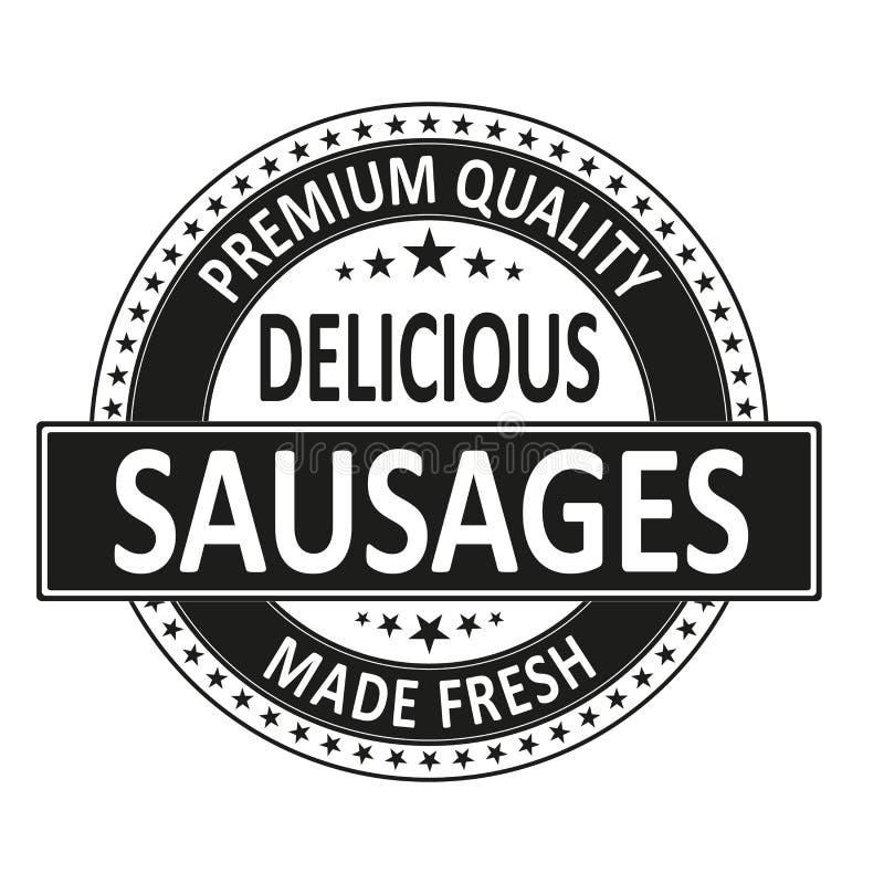 Les saucisses délicieuses de qualité de la meilleure qualité ont fait le timbre frais d'insigne illustration libre de droits