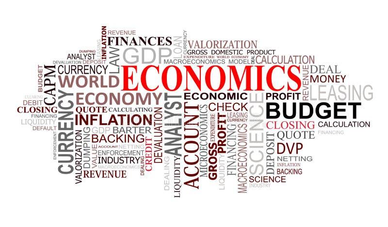 Les sciences économiques étiquettent le nuage illustration libre de droits