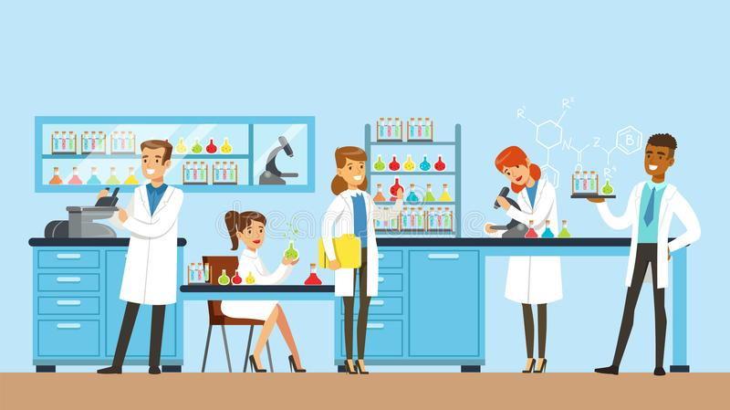 Les scientifiques équipent et la recherche de conduite de femme dans un laboratoire, intérieur de laboratoire de science, illustr illustration de vecteur