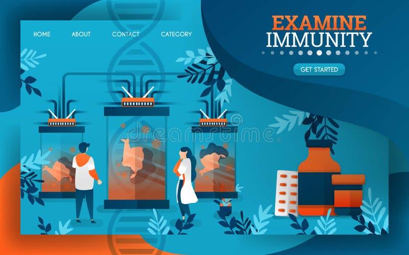 Les scientifiques sont examinants et examinants le système immunitaire du corps humain Illustration plate de vecteur de bande des illustration stock