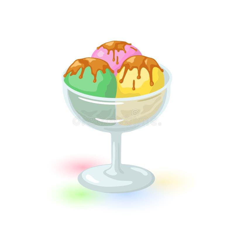 Les scoops jaunes, verts et roses de la crème glacée ont couvert le lustre de chocolat ou de caramel illustration de vecteur