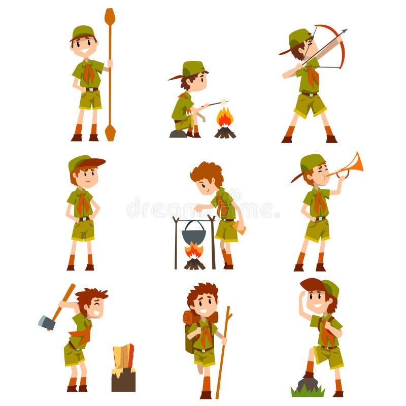 Les scouts de garçon ont placé, des garçons dans des costumes de scout avec augmenter l'équipement, illustrations de vecteur d'ac illustration stock
