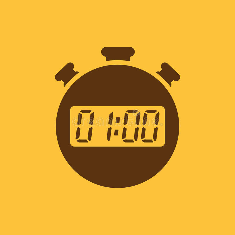 Les 60 secondes, icône de chronomètre de minutes Horloge et montre, minuterie, compte à rebours, symbole de chronomètre Ui web lo illustration libre de droits