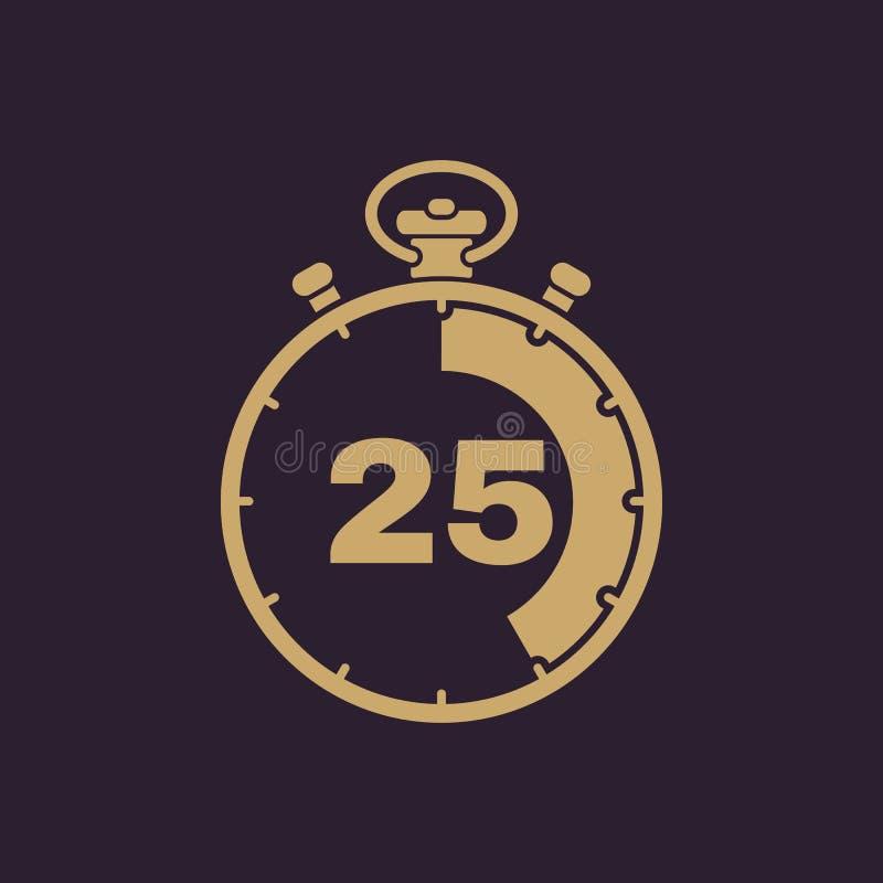 Les 25 secondes, icône de chronomètre de minutes Horloge et montre, minuterie, compte à rebours, symbole de chronomètre Ui web lo illustration de vecteur