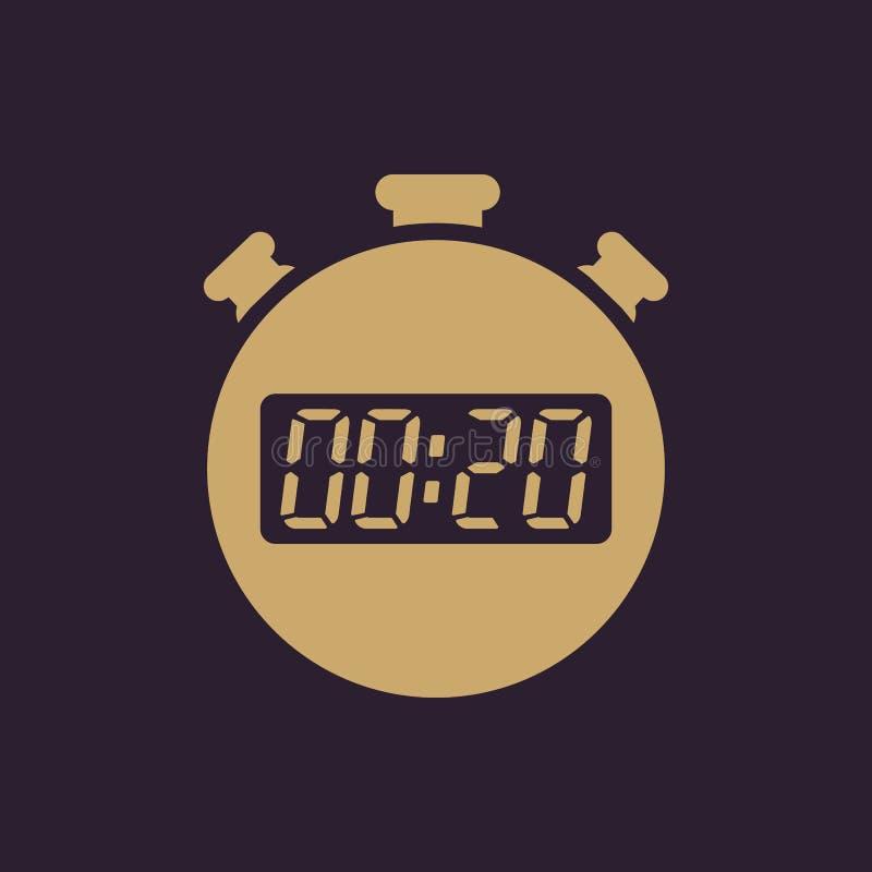 Les 20 secondes, icône de chronomètre de minutes Horloge et montre, minuterie, compte à rebours, symbole de chronomètre Ui web lo illustration de vecteur