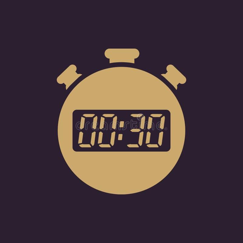 Les 30 secondes, icône de chronomètre de minutes Horloge et montre, minuterie, compte à rebours, symbole de chronomètre Ui web lo illustration libre de droits