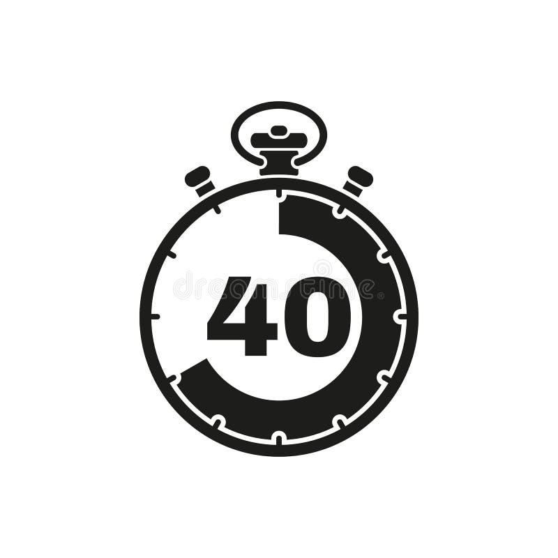 Les 40 secondes, icône de chronomètre de minutes Horloge et montre, minuterie, symbole de compte à rebours Ui web logo signe Conc illustration stock