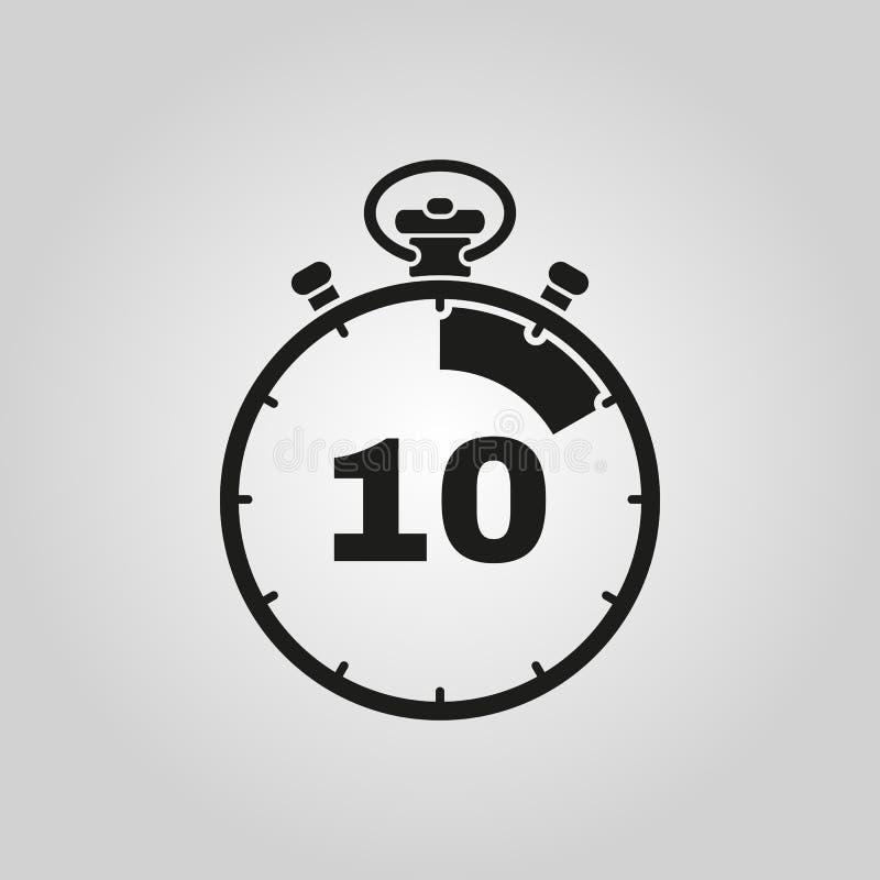 Les 10 secondes, icône de chronomètre de minutes Horloge et montre, minuterie, symbole de compte à rebours Ui web logo signe Conc illustration stock