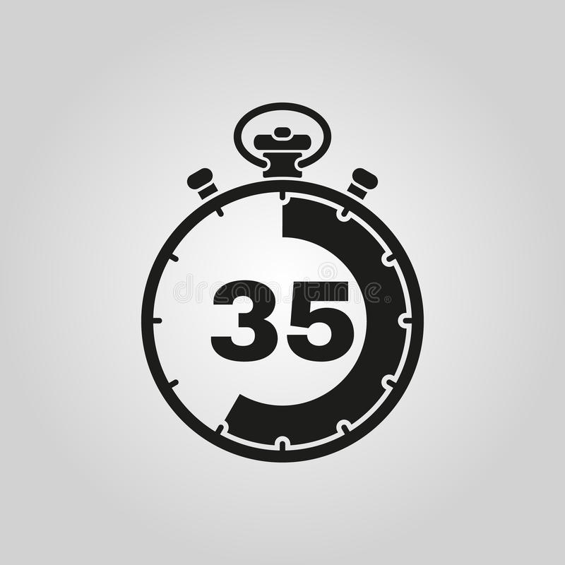 Les 35 secondes, icône de chronomètre de minutes Horloge et montre, minuterie, symbole de compte à rebours Ui web logo signe Conc illustration de vecteur
