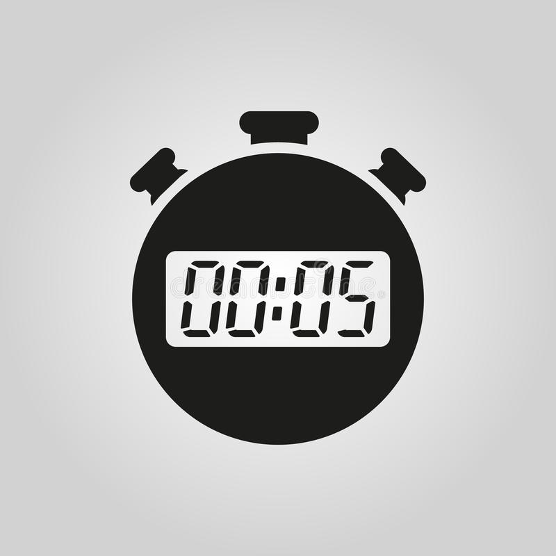 Les 5 secondes, icône de chronomètre de minutes Horloge et montre, minuterie, symbole de compte à rebours Ui web logo signe Conce illustration libre de droits