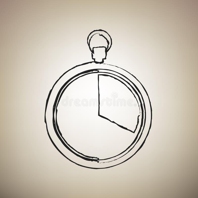 Les 20 secondes, signe de chronomètre de minutes Vecteur Bla drawed par brosse illustration stock
