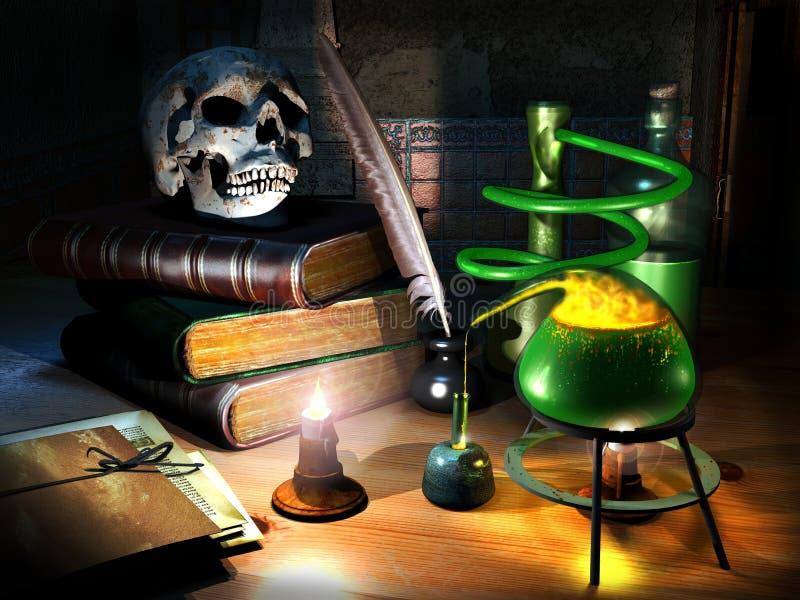Les secrets de l'alchimiste illustration de vecteur