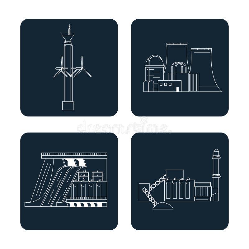 Les sections bleu-foncé de couleur ont placé avec le type d'énergie renouvelable illustration stock
