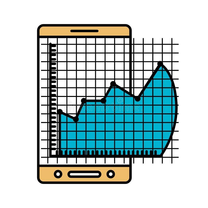 Les sections de couleur silhouettent du téléphone portable et du graphique de risque financier illustration stock