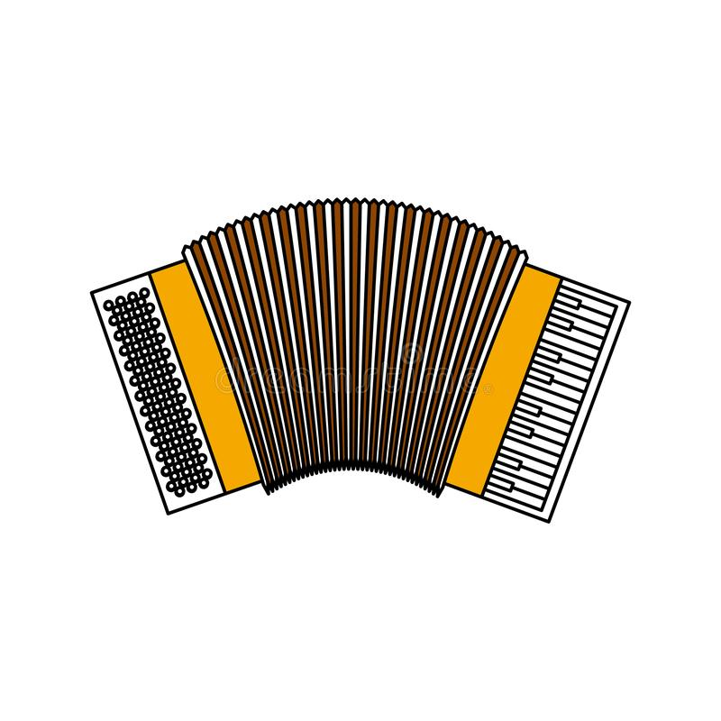 Les sections de couleur silhouettent de l'accordéon avec la découpe épaisse illustration stock
