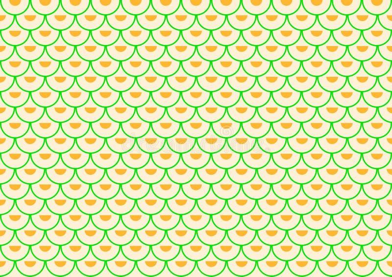 Les semi-voûtes vertes remplies de demi-cercles oranges ont compensé placé illustration stock