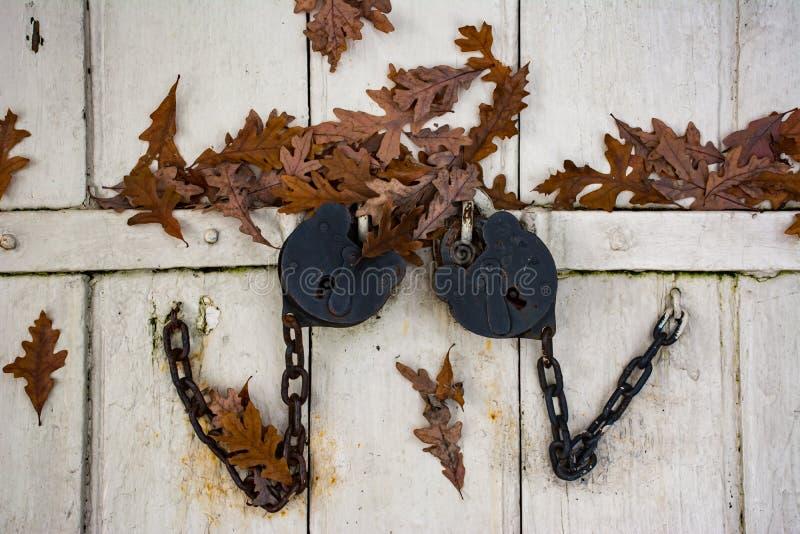 Les serrures antiques ferment la porte de cave photo stock