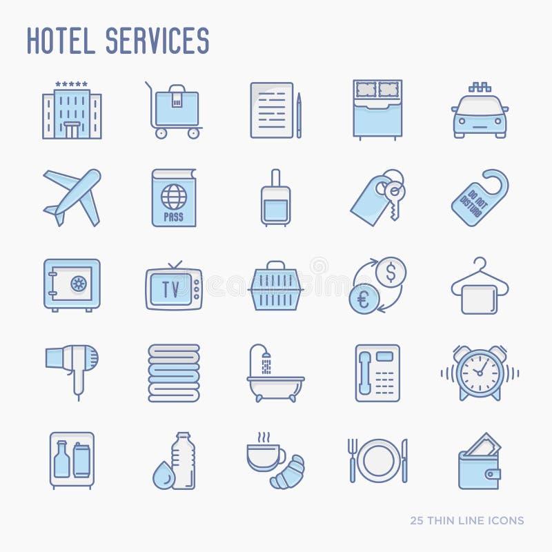 Les services hôteliers amincissent la ligne icônes réglées illustration libre de droits