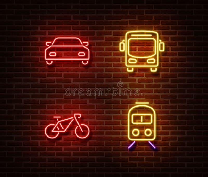 Les signes au néon de transport dirigent d'isolement sur le mur de briques Voiture automatique, autobus, vélo, symboles de lumièr illustration libre de droits