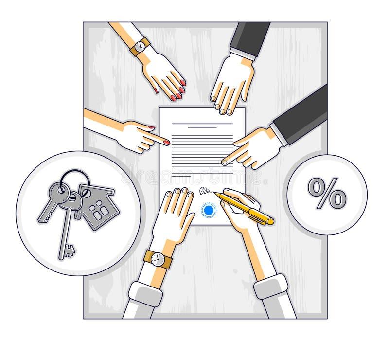 Les signes d'homme encaissent le hypothec d'hypoth?que pour l'achat de maison de propri?t? immobili?re et l'employ? explique des  illustration de vecteur