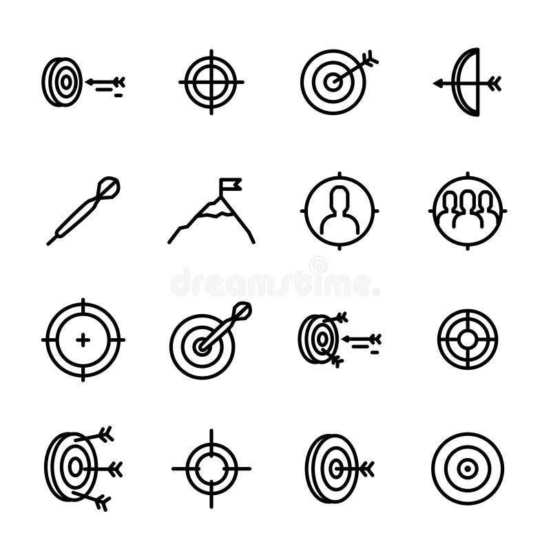 Les signes de cible noircissent la ligne mince ensemble d'icône Vecteur illustration de vecteur