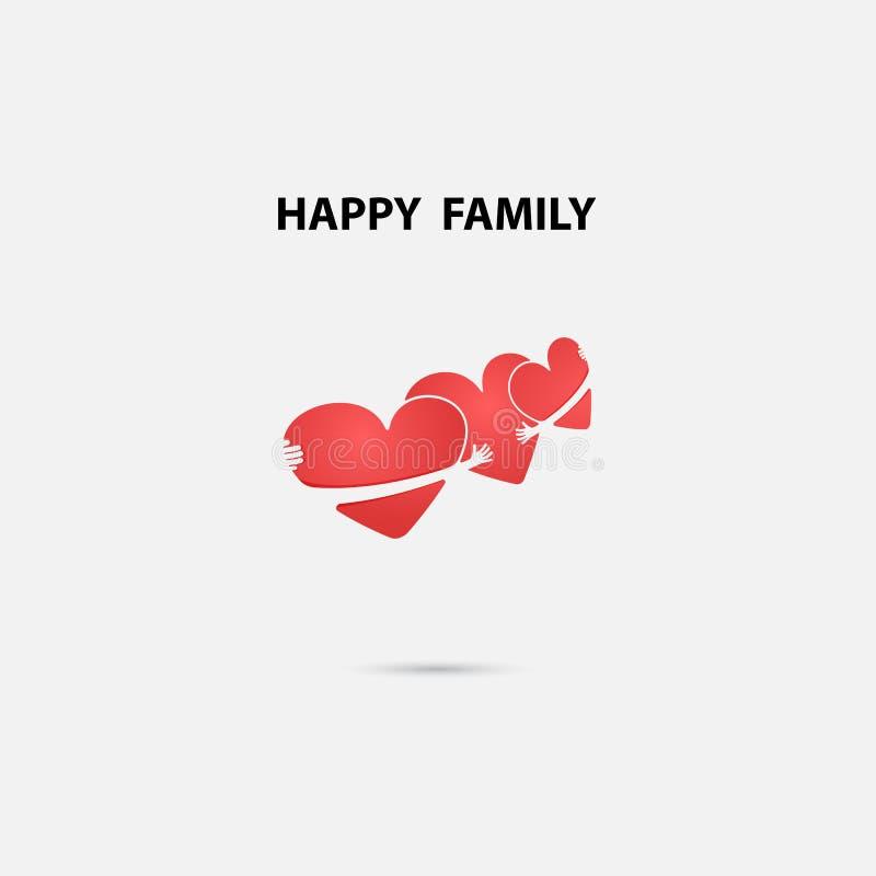 Les signes de coeur et le logo heureux de vecteur de famille conçoivent le calibre amis illustration stock