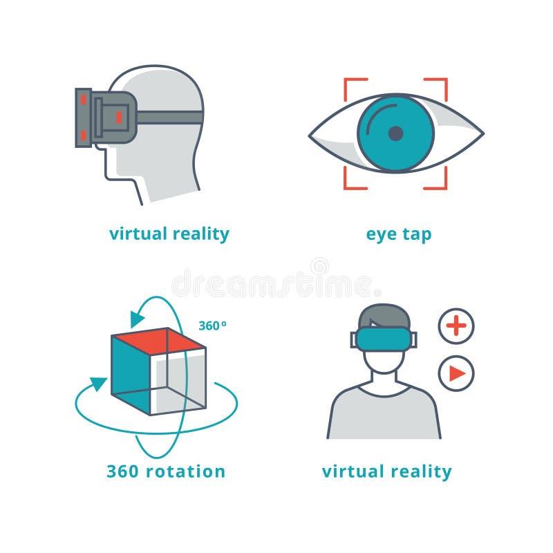 Les signes de réalité virtuelle ont placé pour les jeux 3D et la vidéo du panorama 360 illustration stock