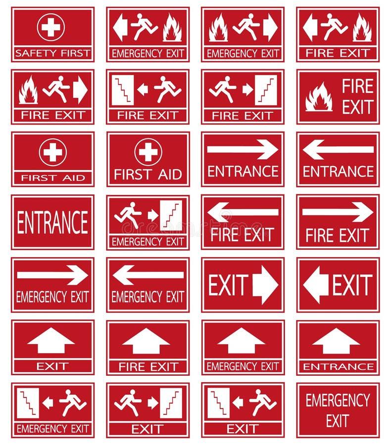 Les signes de sortie de secours de vecteur ont placé sur le fond rouge illustration libre de droits