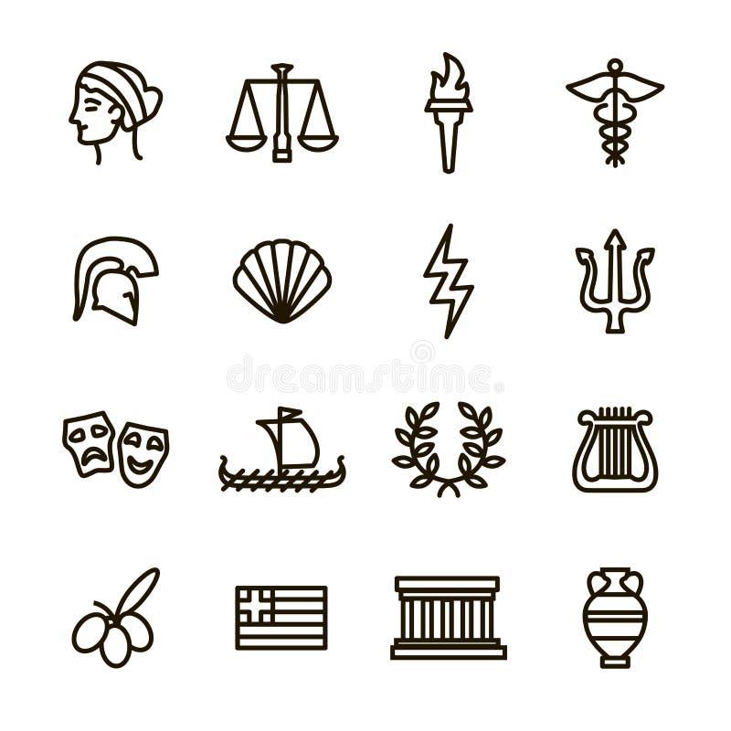 Les signes grecs noircissent la ligne mince ensemble d'icône Vecteur illustration de vecteur