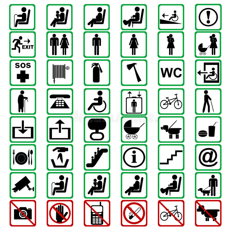Les signes internationaux utilisés dans le tranportation signifie illustration stock