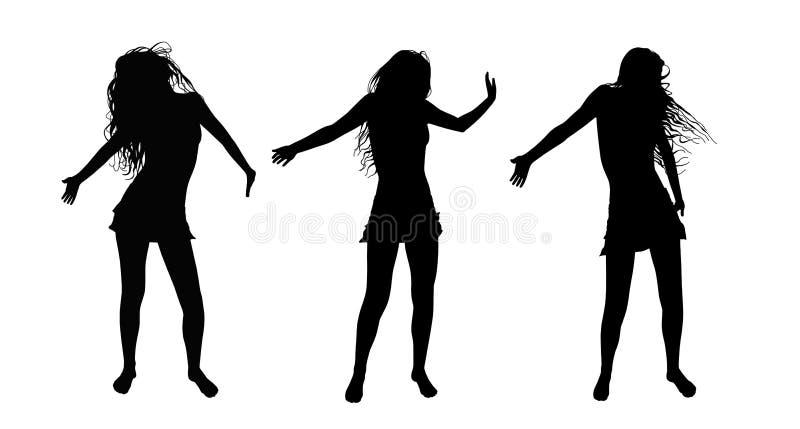 Les silhouettes de filles d'été de danse ont placé 1 illustration libre de droits