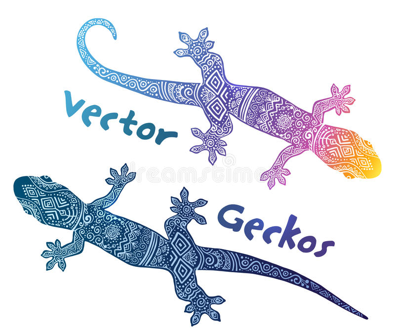 Les silhouettes de gecko de vecteur avec l'ethno tribal gribouillent l'ornement illustration de vecteur