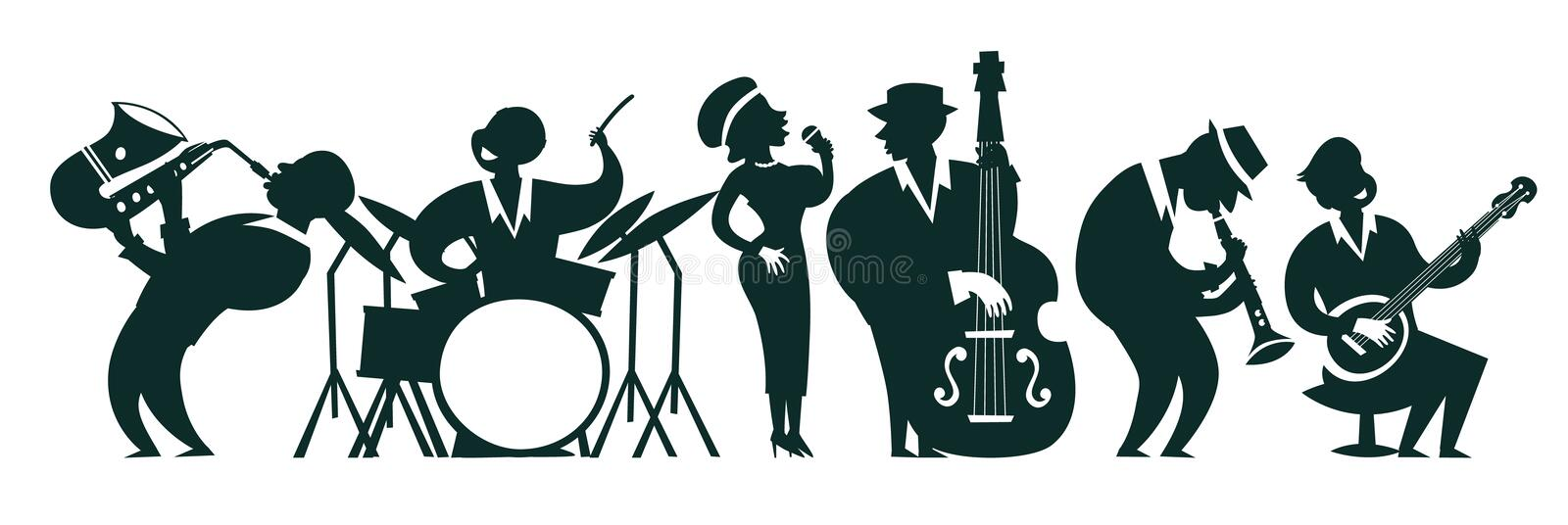 Les silhouettes de jazz-band dirigent l'illustration colorée illustration libre de droits