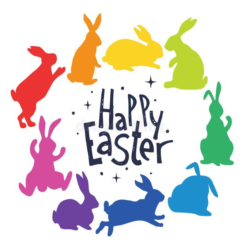 Les silhouettes de lapins dans des couleurs d'arc-en-ciel ont arrangé en cercle Joyeuses Pâques illustration libre de droits
