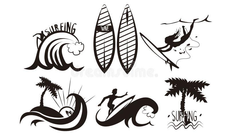 Les silhouettes de surfers placent, jeune homme et les vagues de monte de femme avec des planches de surf, éléments extrêmes de s illustration de vecteur