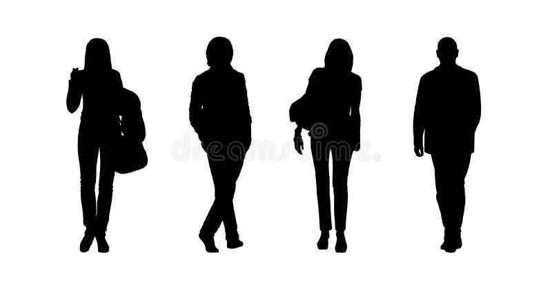 Les silhouettes extérieures de marche de personnes ont placé 8 illustration libre de droits
