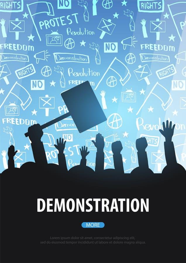 Les silhouettes se serrent des personnes avec des drapeaux, bannières Démonstration, manifestation, protestation, grève, révoluti illustration de vecteur